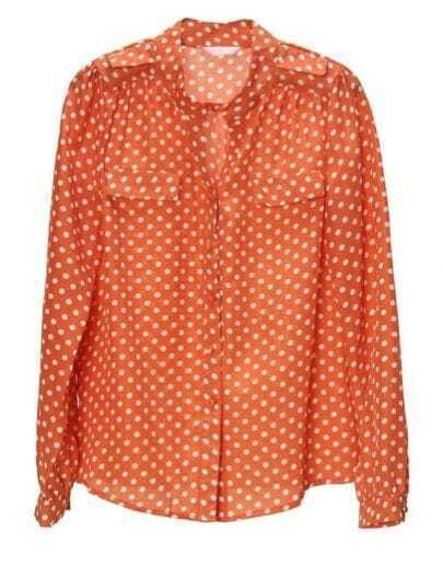 Vintage Polka Dot Stand-collar Loose Shirt Orange