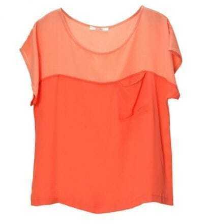 Pokcets Color Matching Loose Chiffon Shirt Orange