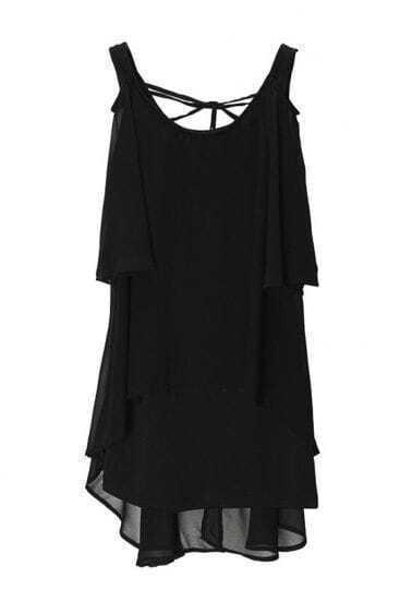 Vintage Ruffle Solid Chiffon Dress Black