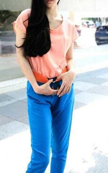 Pink+Blue Patchwork Chiffon Jumpsuits
