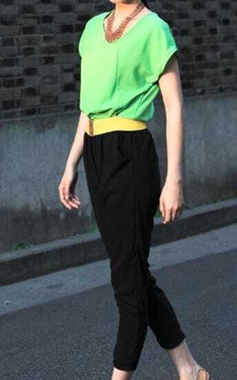 Green+Black Patchwork Chiffon Jumpsuits