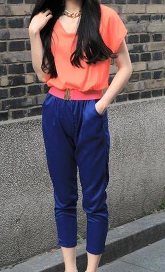 Orange+Blue Patchwork Chiffon Jumpsuits