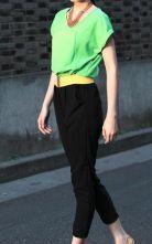 Green+Black Patchwork Chiffon Jumpsuits