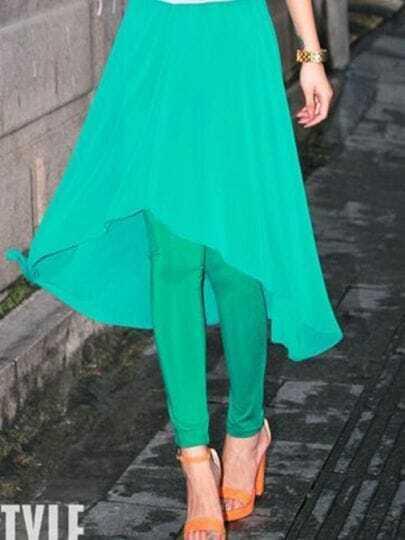 Green Chiffon Asymmetry Leggings
