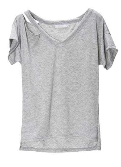 Light-grey Cut Out V-neck High Low Short Sleeve T-shirt