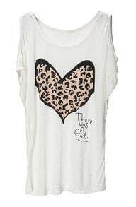 White Leopard Heart Print Cut Out Shoulder T-shirt