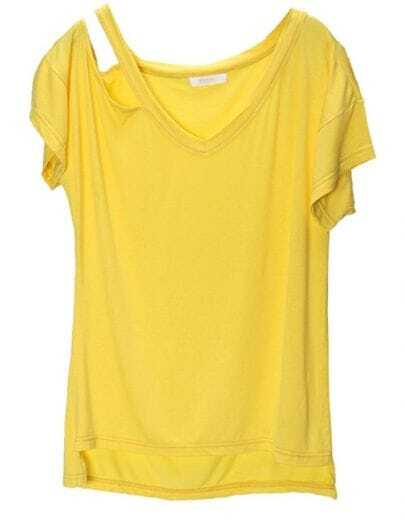 Yellow Cut Out V-neck High Low Short Sleeve T-shirt