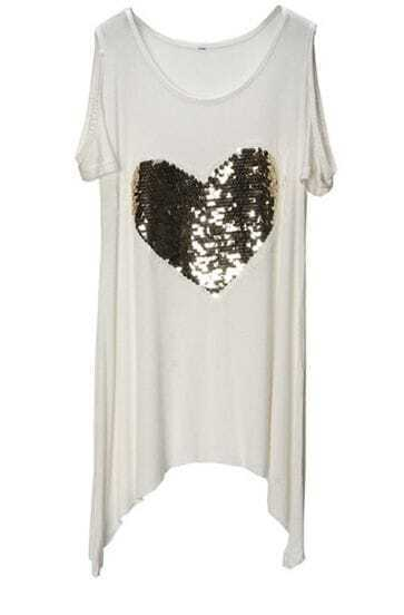 White Sequin Heart Print Cut Out Short Sleeve Hanky Hem T-shirt