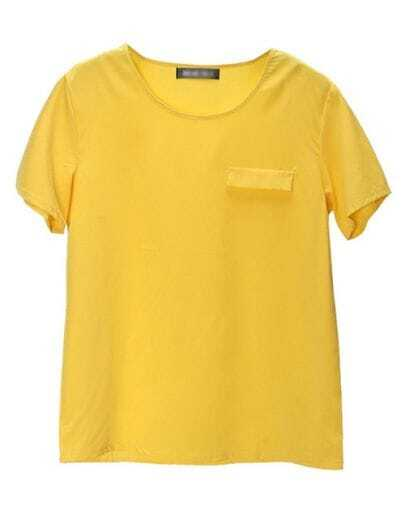 Yellow Round Neck Pocket Short-sleeve T-shirt