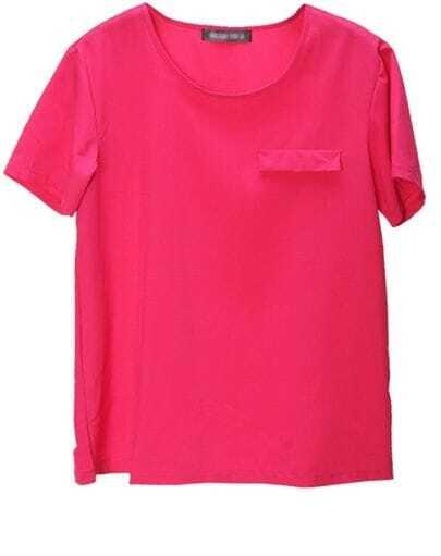 Rose-red Round Neck Pocket Short-sleeve T-shirt