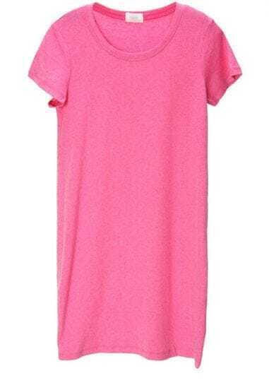 Rose-pink Round Neck Short Sleeve Long T-shirt