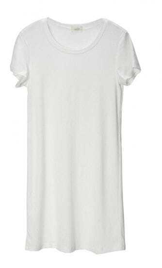 White Round Neck Short Sleeve Long T-shirt