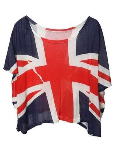 Dark-blue The Union Flag Print Loose Tshirt