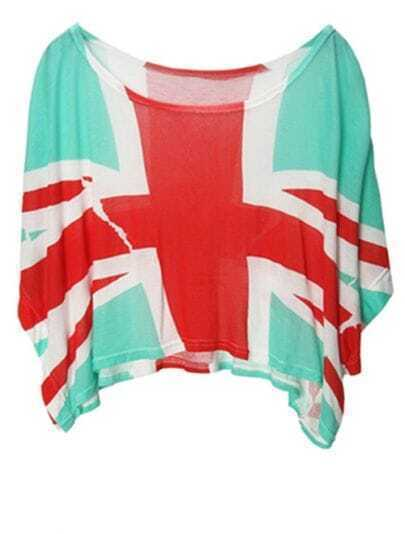 Light-green The UK Flag Print Short Dolman Sleeve Crop T-shirt
