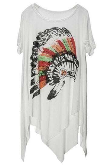 White Indian Style Hat Print Scoop Neck Irregular Hem T-shirt