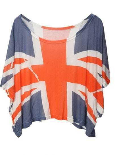Light-blue The Union Flag Print Loose Tshirt