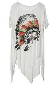 White Indian Style Hat Print Scoop Neck Irregular Hem T-shirt