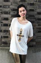 White Beading Cross Round Loose Short-sleeve Tshirt