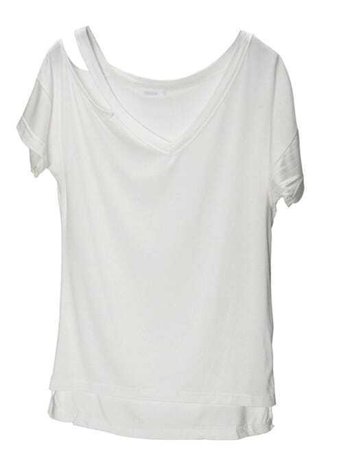 Low Cut White t Shirt White Cut Out V-neck High Low