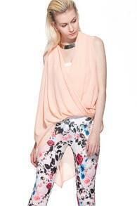 Solid Sleeveless Irregular Chiffon Shirt Pink