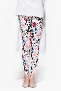 Flowers Printed Slim Leggings