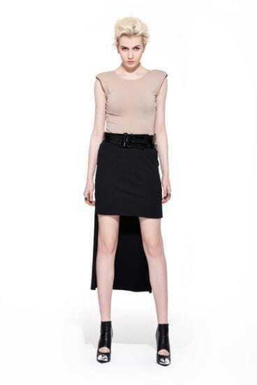 Solid Irregular Black Cotton Skirt