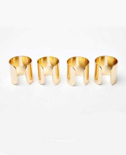 Simple Solid Four Fingers Ring Golden
