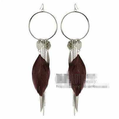 Dark-brown Feather Purl Earrings