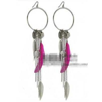 Rose-red Feather Purl Earrings