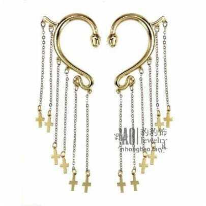 Gold Cross Ear Hook Earrings