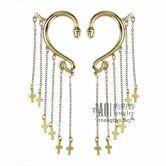Gold Cross Ear Hook Earrings
