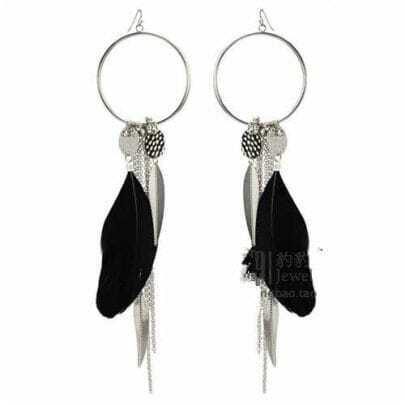 Black Feather Purl Earrings