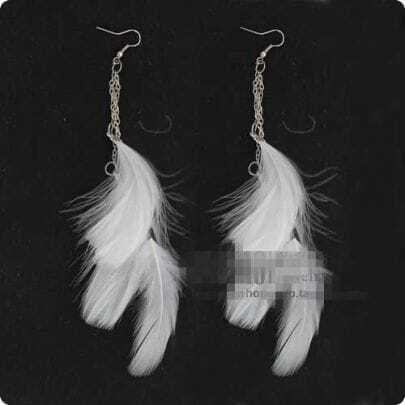 White Overstate Feather Purl Earrings