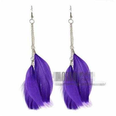 Purple Overstate Feather Purl Earrings