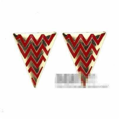 Red Stripe Triangle Earrings