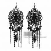 Black Overstate Purl Earrings