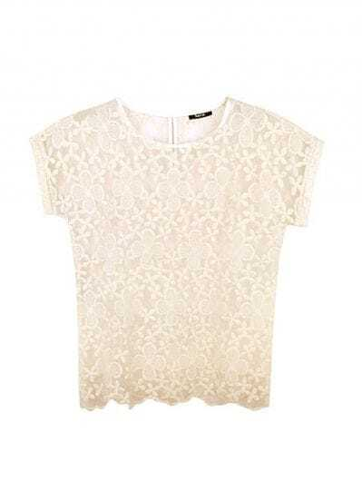 Candy Color Lace Short-sleeved Shirt Beige