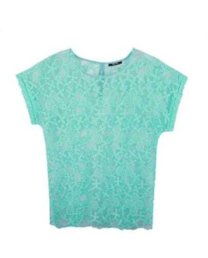 Candy Color Lace Short-sleeved Shirt Green