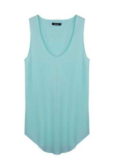 Solid Sleeveless Irregular Loose Shirt Green