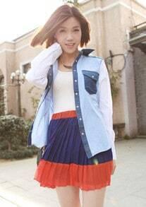 Dark-blue Vintage Pleated Skirt