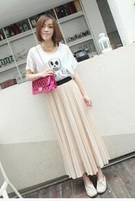 Beige Pleated Chiffon Skirt