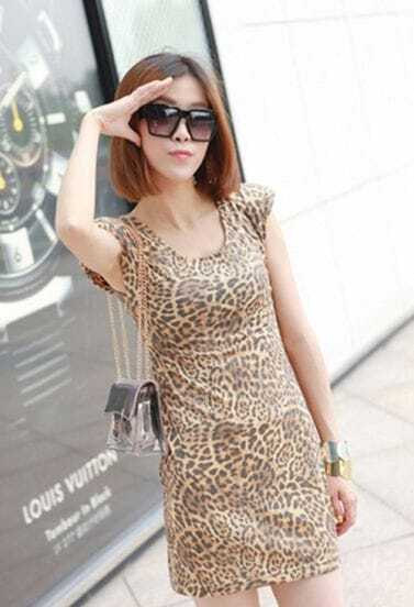 Gold Leopard Print Tank Dress
