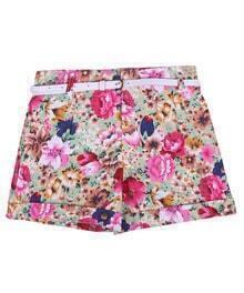 Vintage Floral High-waist Shorts