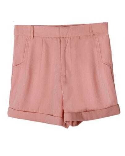 Vintage Candy Color High-waist Shorts Pink