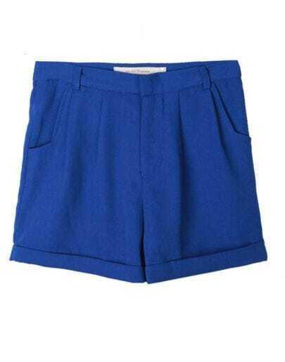 Vintage Candy Color High-waist Shorts Blue