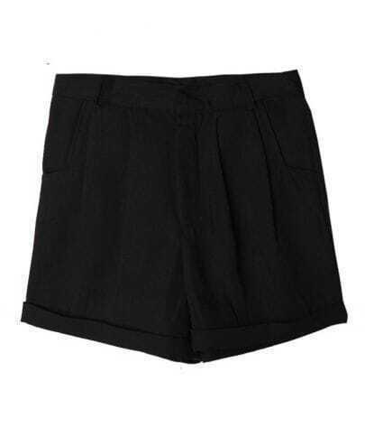 Vintage Candy Color High-waist Shorts Black