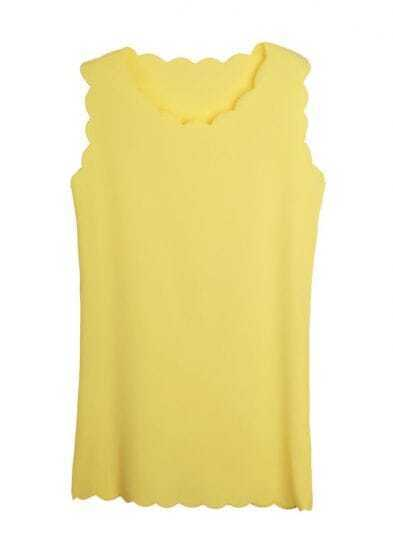 Candy Color Solid Slim Chiffon Tank Dress Yellow