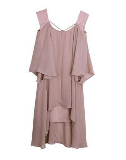 Off The Shoulder Half-sleeved Chiffon Dress Pink