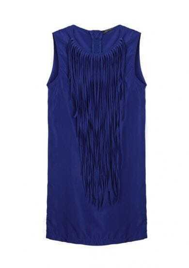 Tassel Solid Slim Chiffon Tank Dress Blue