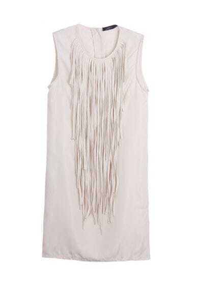 Tassel Solid Slim Chiffon Tank Dress Beige